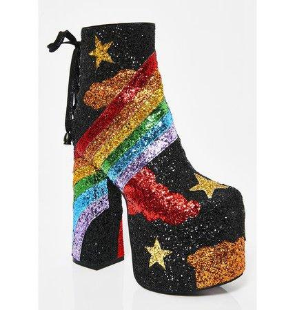 Rainbow Shock Glitter Boots