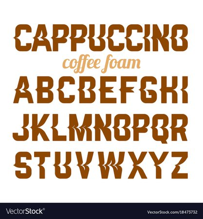 Cappuccino coffee foam art alphabet Royalty Free Vector