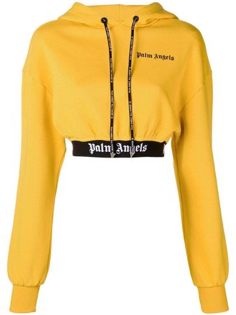 Palm Angels yellow cropped hoodie