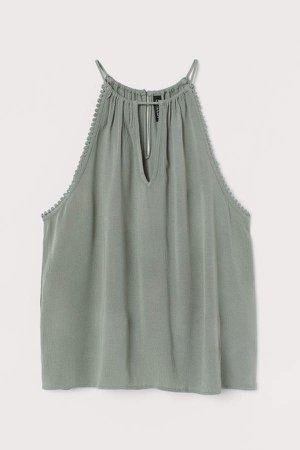 Sleeveless Crinkled Top - Green