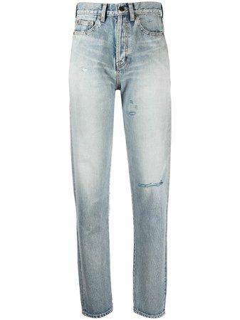 Saint Laurent high-waist ripped jeans - FARFETCH