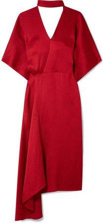 Meyers Wrap-effect Asymmetric Hammered Silk-satin Midi Dress - Claret