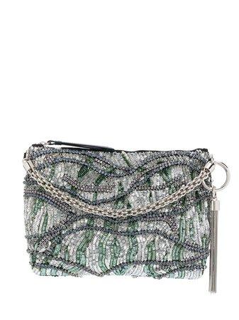 Silver & green Jimmy Choo Callie clutch - Farfetch