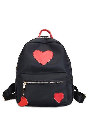 Heart Decor Zipper Front Backpacks Bag