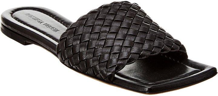 Squared Toe Intrecciato Leather Sandal