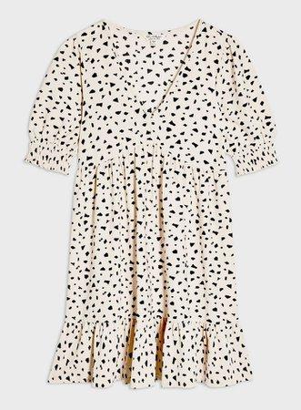 Nude Animal Print Short Sleeve Smock Dress | Miss Selfridge