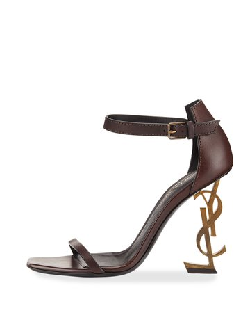 ysl leather sandal w logo heel