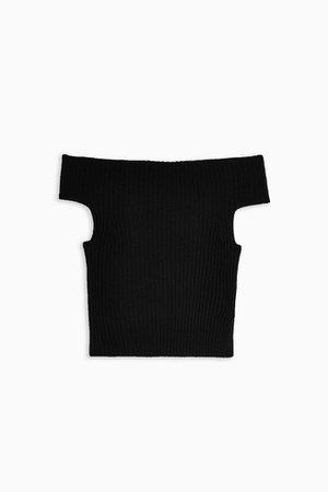 Black Roll Racer Off Shoulder Knitted Top   Topshop