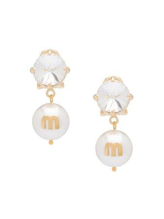 Miu Miu Logo Charm Clip Earrings Aw20 | Farfetch.Com