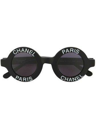 Chanel Vintage Logo Stamp Round Sunglasses - Farfetch