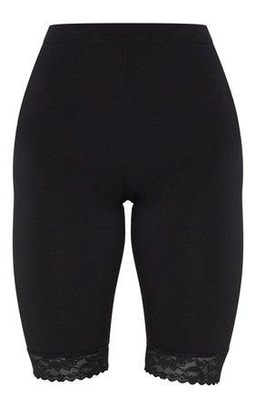 Black Lace Hem Cycle Short | Shorts | PrettyLittleThing