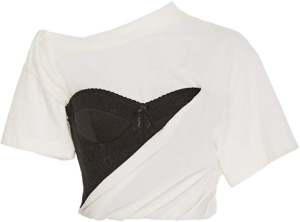 Asymmetric Stretch-Cotton Bustier Top