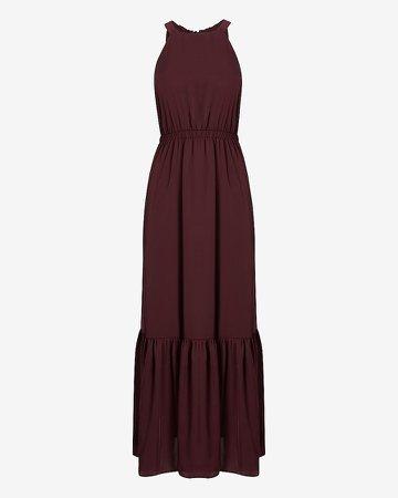 Tiered Halter Neck Maxi Dress