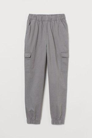 Twill Cargo Pants - Gray