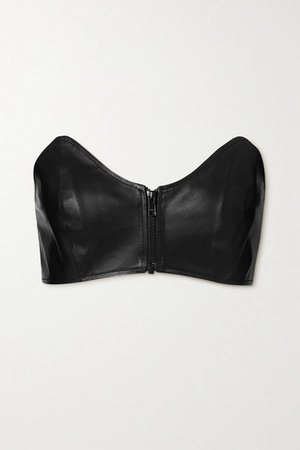 Cropped Leather Bustier Top - Black