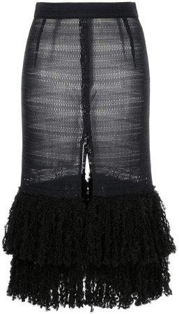 Rokh front slit fringed knit skirt
