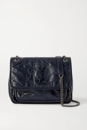 Niki Baby Mini Quilted Crinkled Glossed-leather Shoulder Bag - Navy