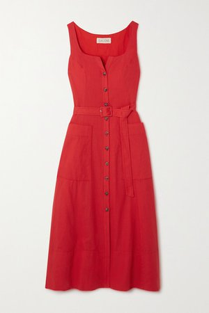 Bibba Belted Cotton And Linen-blend Midi Dress - Red