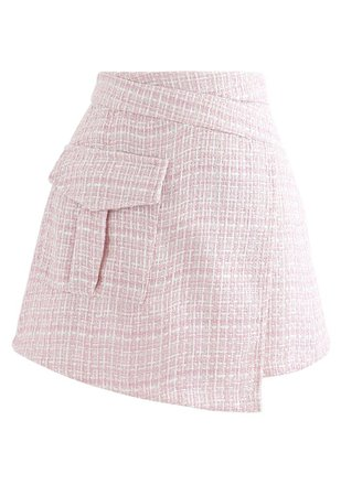 Chic Wish Tweed Asymmetric Mini Skirt in Pink - Retro, Indie and Unique Fashion