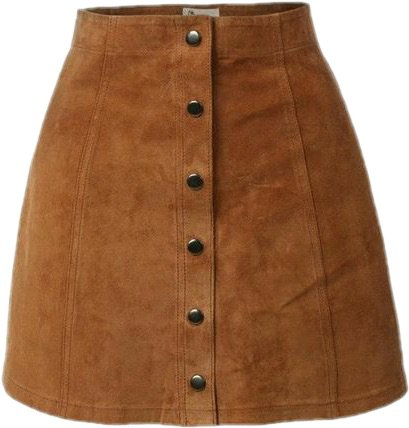 suede skirt with button