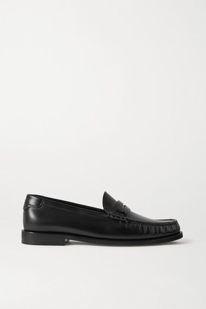 Logo-appliqued Leather Loafers - Black