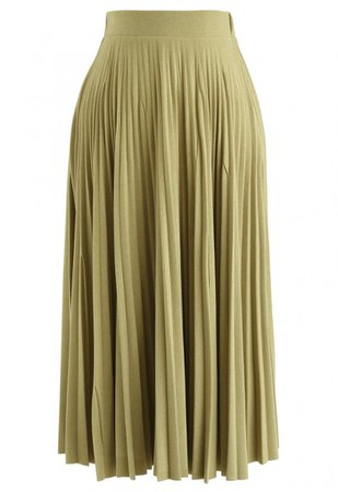 Full Pleated A-Line Midi Skirt in Moss Green - NEW ARRIVALS - Retro, Indie and Unique Fashion