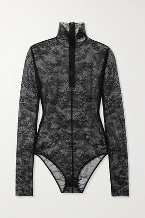 Stretch-lace Turtleneck Bodysuit - Black