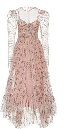 Red Valentino Tiered Swiss Dot Midi Dress