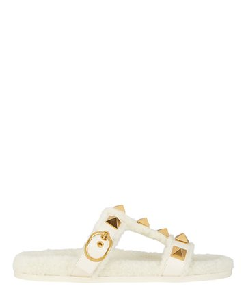 Valentino Garavani Roman Stud Shearling Slide Sandals | INTERMIX®