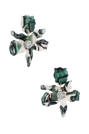 Lele Sadoughi Small Crystal Lily Earrings in Green Abalone   REVOLVE
