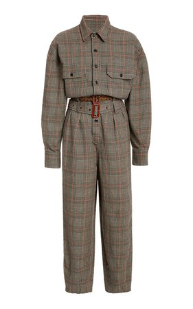 Belted Prince Of Wales Checked Cotton Jumpsuit by R13 | Moda Operandi