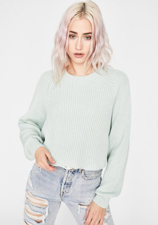 Ribbed Knit Cropped Sweater - Mint Green | Dolls Kill