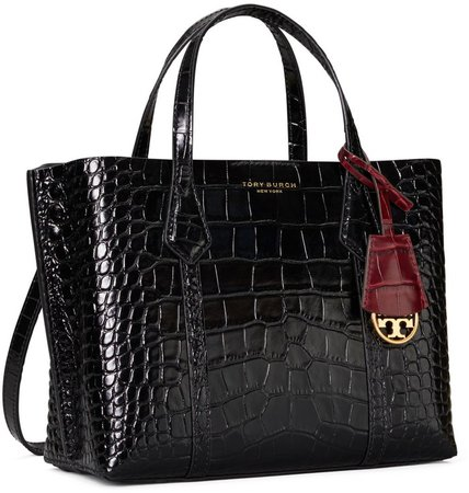 Perry Embossed Small Triple-Compartment Tote Bag