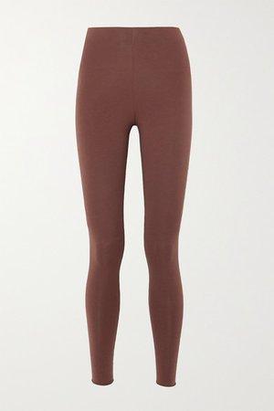 Calypso Stretch Organic Pima Cotton Jersey Leggings - Brown