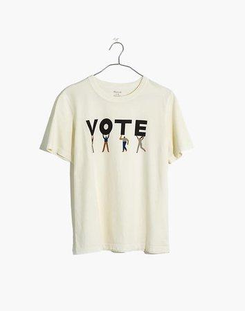 Vote Graphic Tomboy Tee white