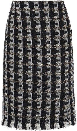 Frayed Sequin-embellished Tweed Skirt