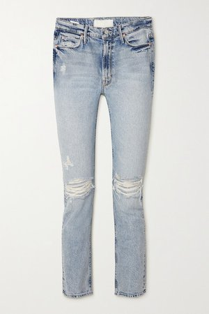 The Dazzler Cropped Distressed High-rise Straight-leg Jeans - Light denim