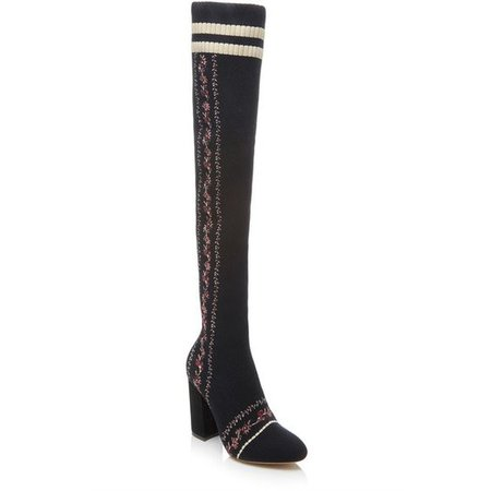 Tabitha Simmons Irina Embroidered Over-The-Knee Knit Boots