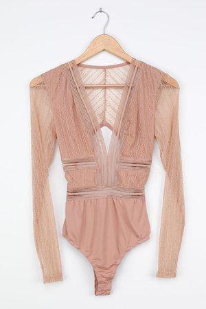 Sexy Beige Bodysuit - Sheer Lace Bodysuit - Long Sleeve Bodysuit - Lulus