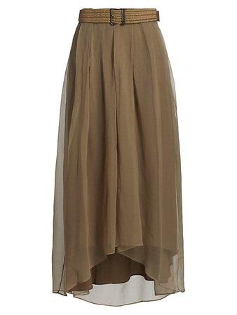 Brunello Cucinelli Silk Raffia Belted High-Low Skirt | SaksFifthAvenue