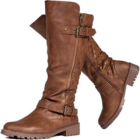 Amazon.com   RF ROOM OF FASHION Women's Athletic Wide Calf Lug Sole Knee High Riding Boots w Hidden Pocket BLACK Size.6   Knee-High