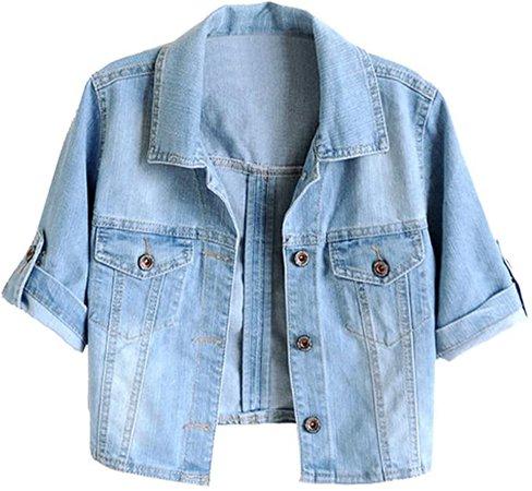Trendy XU Women Summer Short Sleeve Blue Denim Jacket Short Cropped Sunscreen Shawl at Amazon Women's Coats Shop