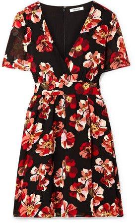 Floral-print Chiffon Mini Dress - Black