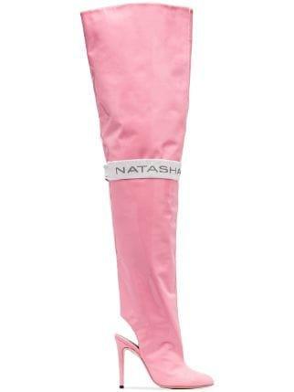 Natasha Zinko Pink 110 thigh-high Patent Leather Boots - Farfetch