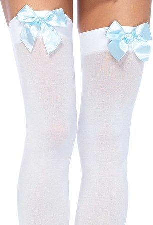 Amazon.com: Leg Avenue Women's Satin Bow Accent Thigh Highs, White/light Blue, One Size: Leg Avenue: Clothing