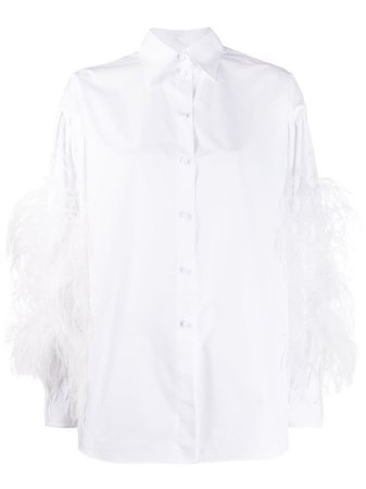 Valentino Feather Embellished Buttoned Shirt Ss20 | Farfetch.com