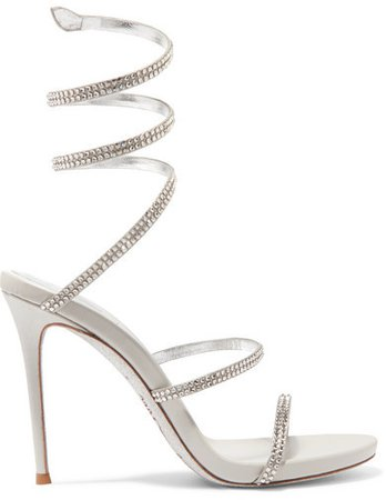 Cleo Crystal-embellished Metallic Leather Sandals - Silver