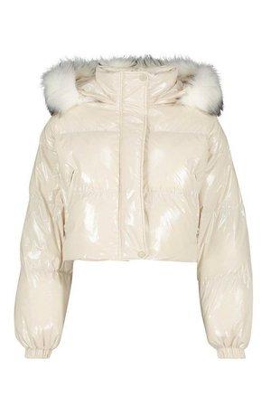 Crop Vinyl Faux Fur Trim Puffer Jacket   Boohoo white