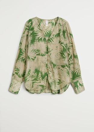 Tropical print blouse - Women   Mango USA green