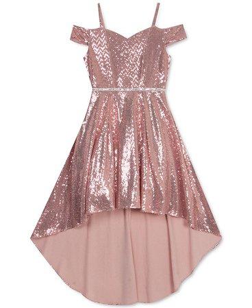 Rare Editions Big Girls High-Low Glitter Dress & Reviews - All Girls' Dresses - Kids - Macy's
